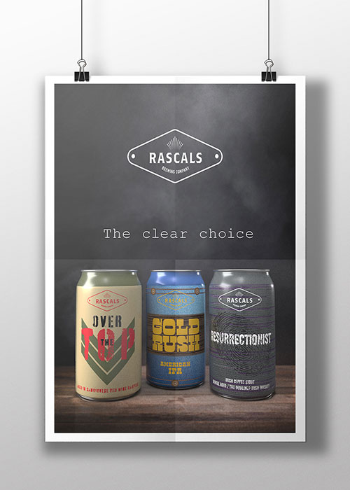 Rascals Beer Can Packaging Poster Designs three cans Restrictionists, Over the Top and Gold Rush