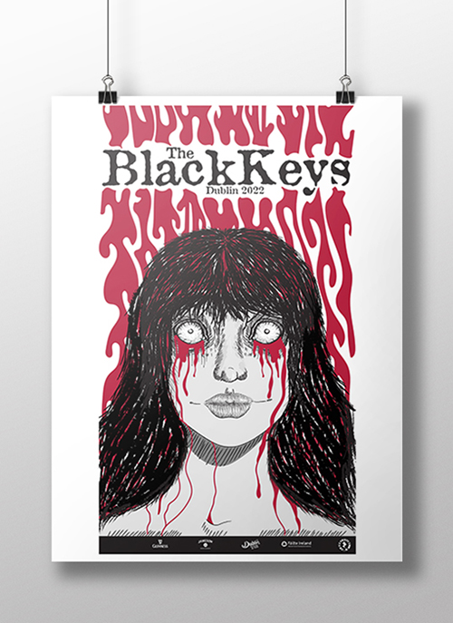 Vector red & back poster of a woman crying blood for 'The Black Keys'