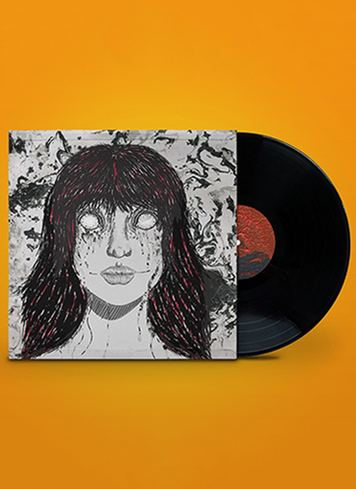 Vinyl record and sleeve for 'The Black Keys' depicting an illustration of a woman