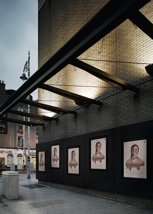 'The Elephant Man' Photo Composite Poster by Nicole O'Connor in situ on the Abbey Theatre