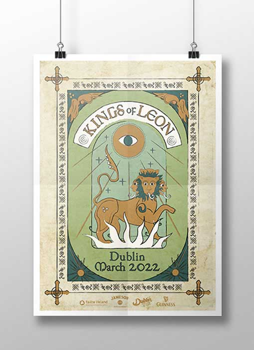 Kings of Leon Vector Poster in the style of an illuminated manuscript