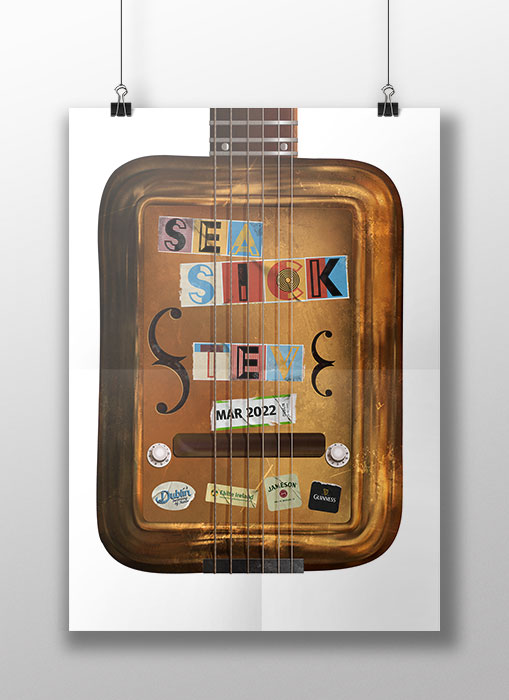 'Seasick Steve' Vector Gig Poster show a rusty biscuit tine steel guitar
