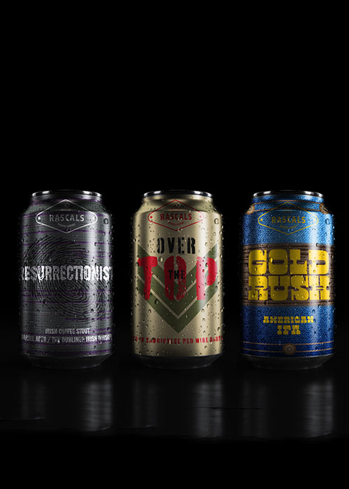 Rascals Beer Can Packaging Designs three cans Restrictionists, Over the Top and Gold Rush