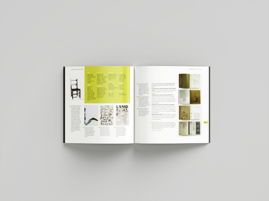 Redesign of book cover and chapter layout for 'The Elements of Graphic Design'