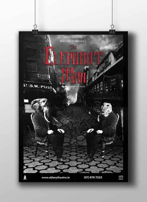 'The Elephant Man' Photo Composite Poster black and white gothic image