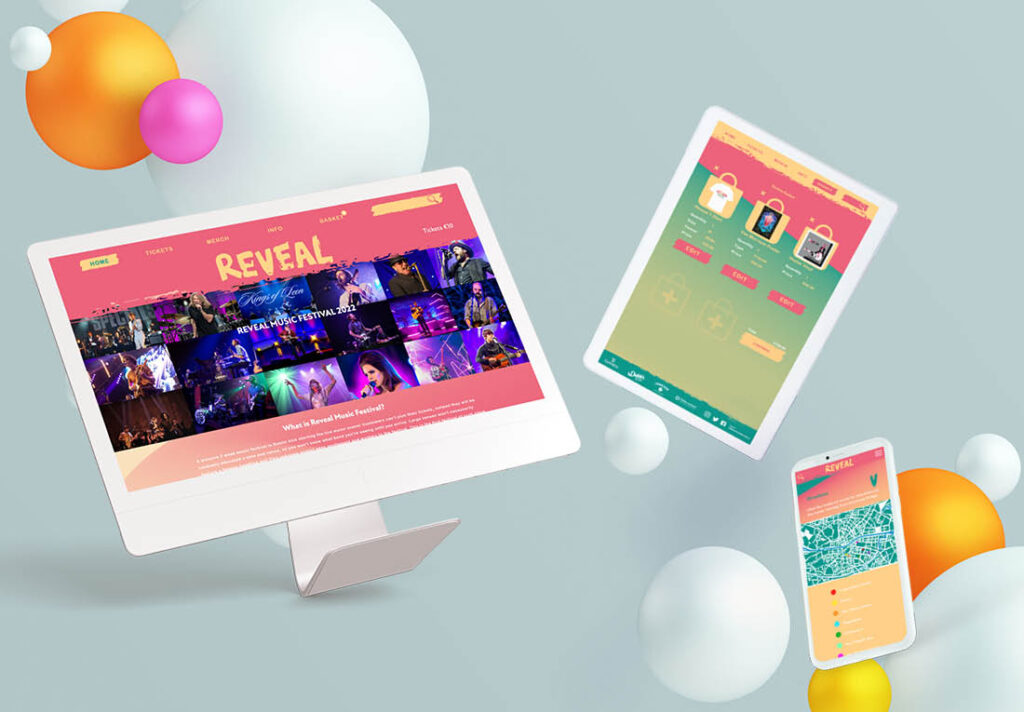 'REVEAL' Dublin Music Festival Website in template with desktop tablet and mobile version
