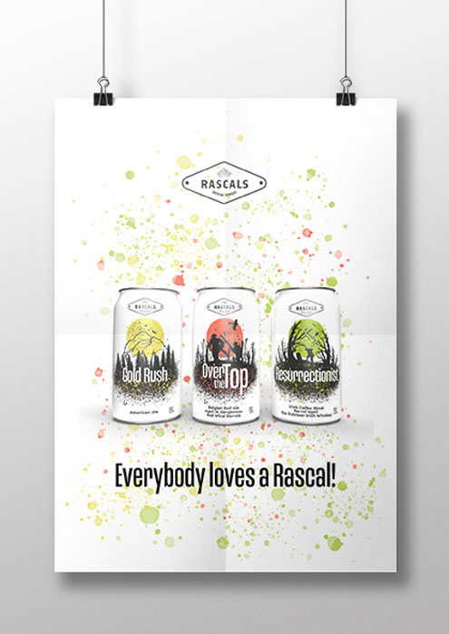 Rascals Beer label design and promotional poster