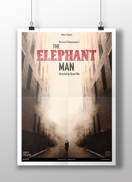 'The Elephant Man' Photo Composite Poster of dark city street with man in foreground