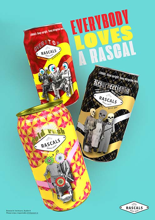 Rascals Beer Can Packaging and Advert Poster