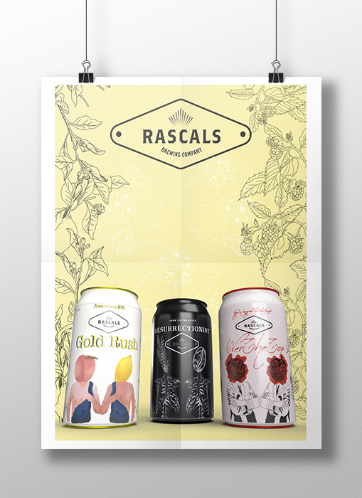 Poster for three cans of 'Rascals Brewing Company' beer
