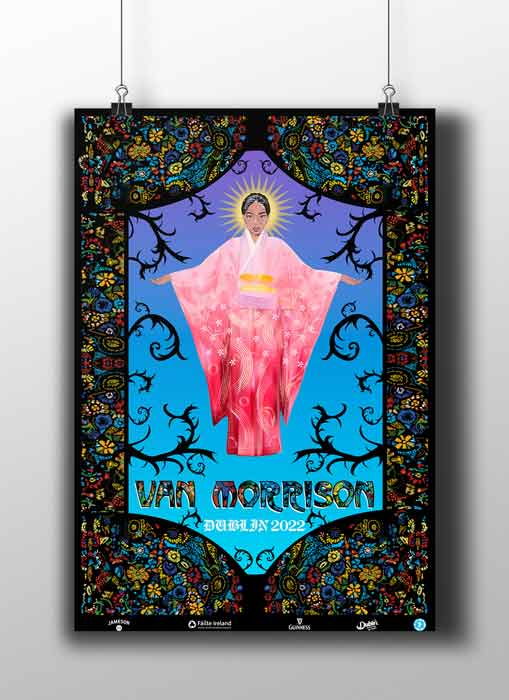 'Van Morrison' Vector Poster Design in a stained glass style