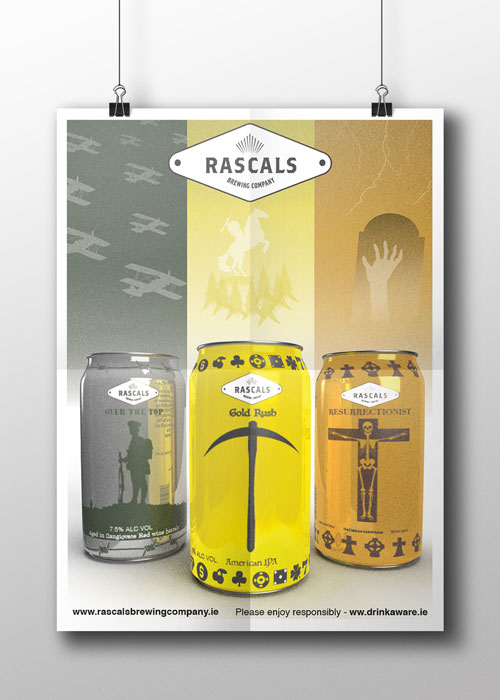 Rascals Beer Can Designs and Advertising Poster