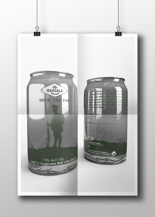 Rascals 'Over the Top' Beer Can Design