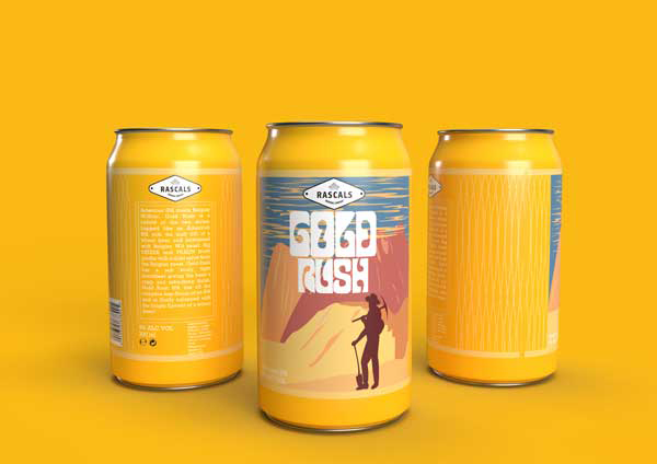 Rascals 'Gold Rush' Beer label Design Gold colour