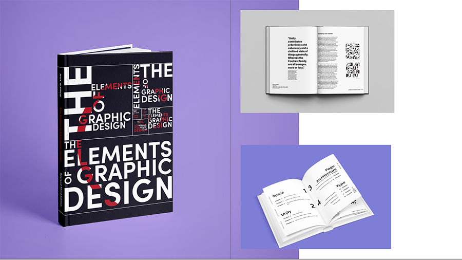 'The Elements of Graphic Design' Editorial Piece in template with purple background