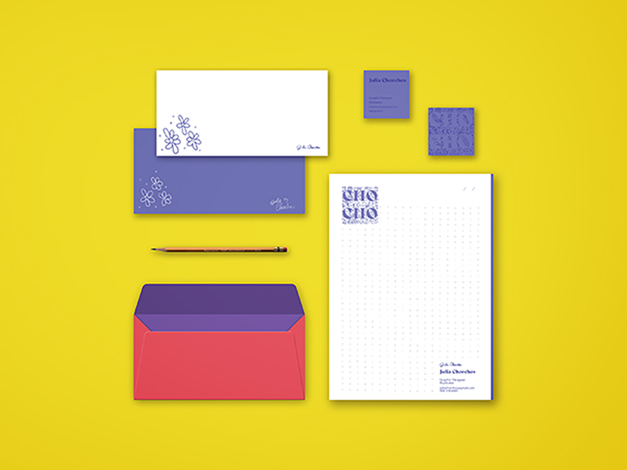 Julia Chorchos Corporate Identity in template with yellow background